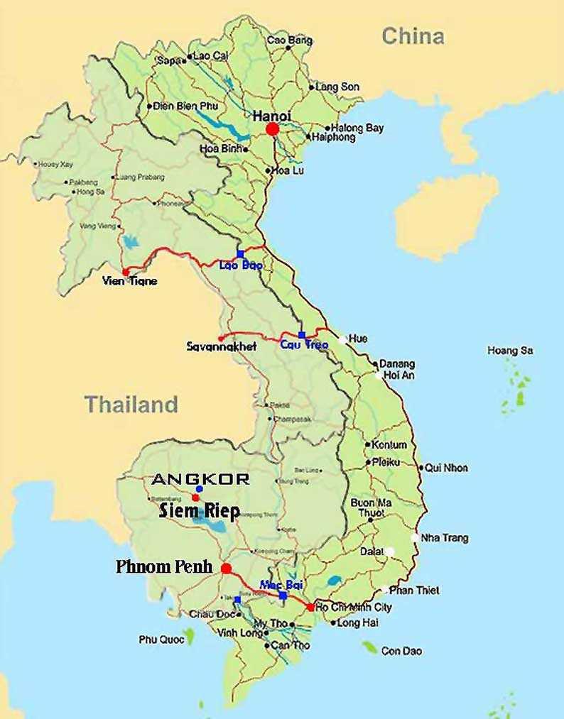 Carte Cambodge - Vietnam