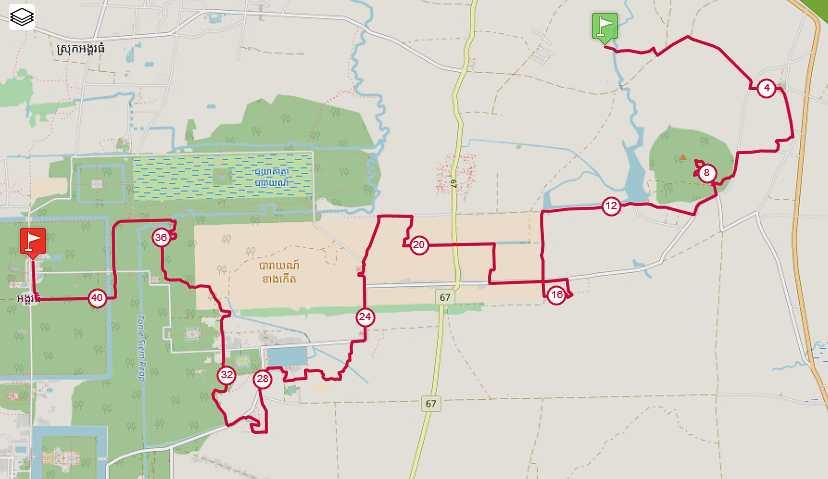 Plan du parcours Matrathon Trail d'Angkor